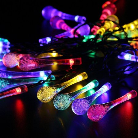 Waterproof 30 LED Solar Power Water Drop Fairy String Light Yard Garden Party Decor 6M