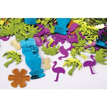 Luau Confetti Multicolored (Palms, Flowers, Tiki Idols, Flamingos, Pineapples) Party Decoration Pkg/6, Luau party items By - Tiki Idols