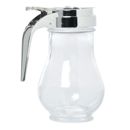 HUBERT Syrup Dispenser With Chrome-Plated Top 6 Ounce Clear Glass