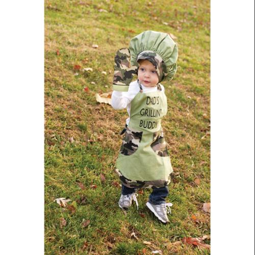 """3-Piece """"Dad's Grillin' Buddy"""" Boy's Camo Chef's Apron, Hat and Pot Holder Set"""