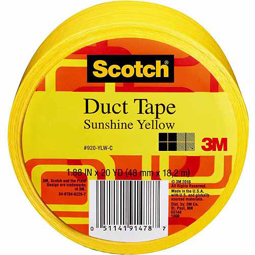 "Scotch Duct Tape, 1.88"" x 20 yd, Yellow"