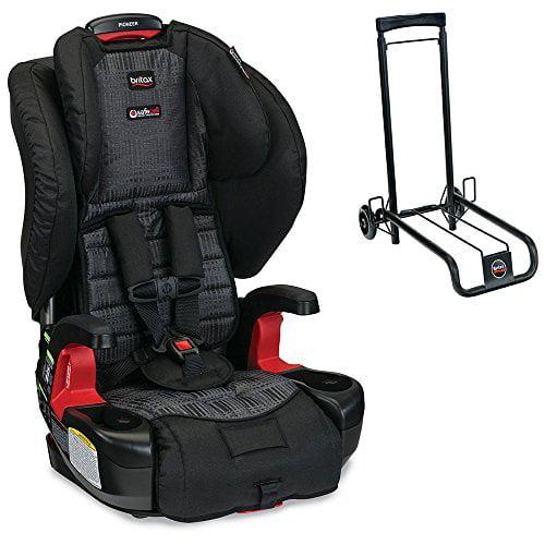 Britax Pioneer G1.1 Harness-2-Booster Car Seat w Car Seat Travel Cart, Black Bundle (Domino)