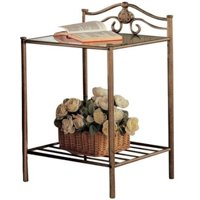 Bowery Hill Glass Top Nightstand in Antique Brushed Gold