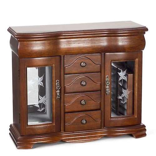 Wooden Jewelry Box with Etched Glass Doors