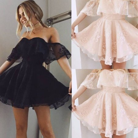 Womens Lace Short Dress Off Shoulder Prom Ladies Evening Party Cocktail Bridesmaid Wedding Dresses - image 5 of 5