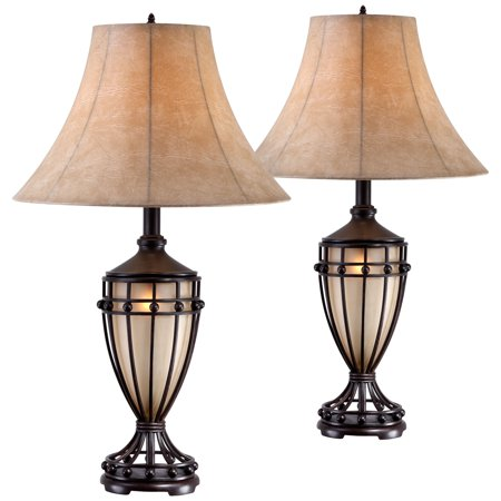Iron Urn - Franklin Iron Works Traditional Table Lamps Set of 2 with Nightlight Brushed Iron Urn Beige Fabric Shade for Living Room Bedroom