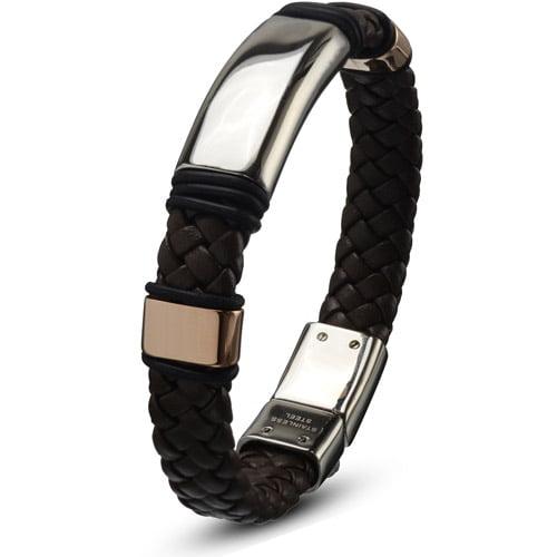 Steel Art Men's Stainless Steel Brown Leather Braided Bracelet With Steel Buckle Closure, 8-1/2