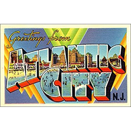 Greetings From ATLANTIC CITY Sticker Decal (vintage NJ post card design) Size: 3 x 5 inch](Party City In Wayne Nj)