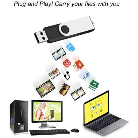 JUANWE 10 Pack 32GB Bulk USB 2.0 Flash Drive Swivel Thumb Drive Jump Drive Memory Stick Pen Drive - Black - image 4 of 5