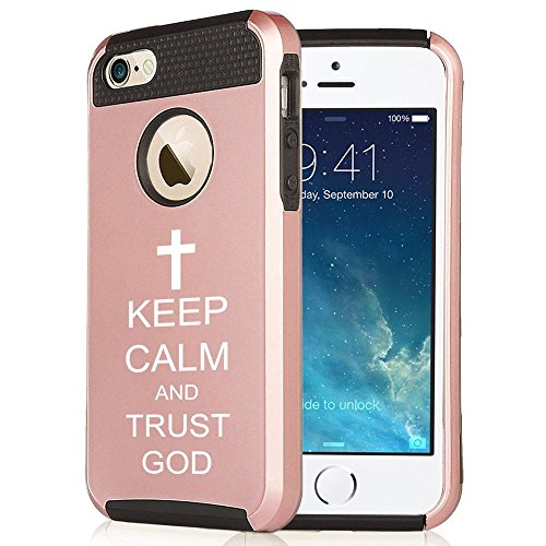 Apple iPhone 6 Plus / 6s Plus Rose Gold Shockproof Impact Hard Case Cover Keep Calm and Trust God Cross (Rose Gold / Black),MIP