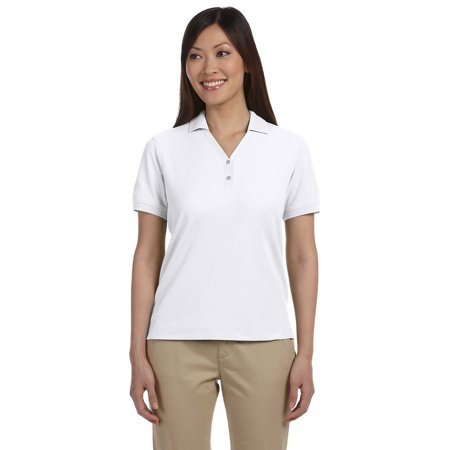 Devon & Jones D100W Ladies Pima Pique Y-Collar Polo Shirt - White - X-Small
