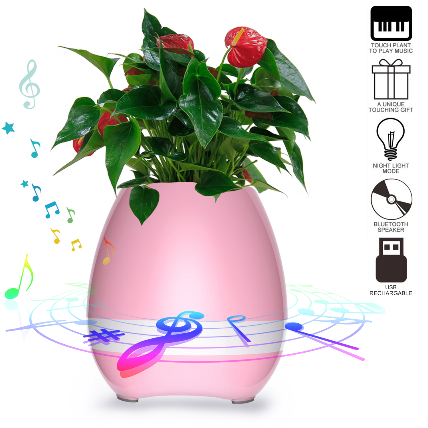 AGPtek Music Pot Flower Pot Touch Plant Piano Music Playing with Bluetooth Speaker and LED Light