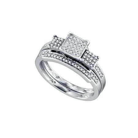10K White Gold 0 25Ctw Shiny Diamond Micro Pave Center Square Bridal Set Ring