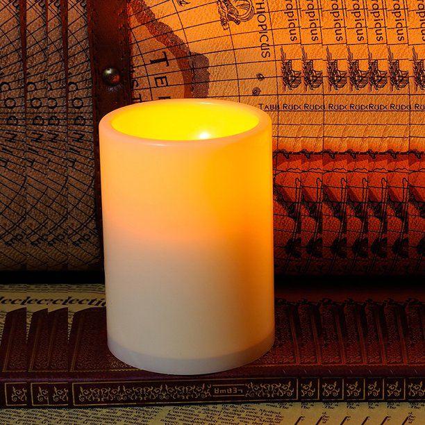 Indoor Outdoor Flameless Resin Pillar, Outdoor Flameless Candles With Remote