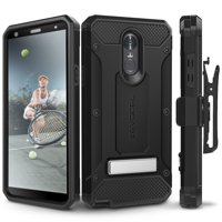 LG Stylo 4 Case, Evocel [Glass Screen Protector] [Belt Clip Holster] [Metal Kickstand] [Porthole Covers] [Full Body] Explorer Series Pro Phone Case for LG G Stylo 4 (2018 Release), Black