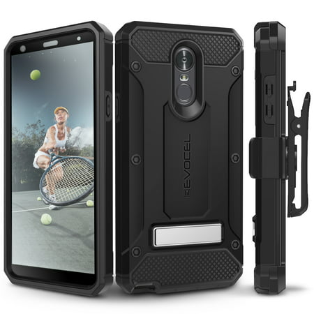LG Stylo 4 Case, Evocel [Glass Screen Protector] [Belt Clip Holster] [Metal Kickstand] [Porthole Covers] [Full Body] Explorer Series Pro Phone Case for LG G Stylo 4 (2018 Release), Black (Price/1 Case)