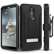 LG Stylo 4 Case, Evocel [Glass Screen Protector] [Belt Clip Holster] [Metal Kickstand] [Porthole Covers] [Full Body] Explorer Series Pro Phone Case for LG G Stylo 4 (2018 Release), Black