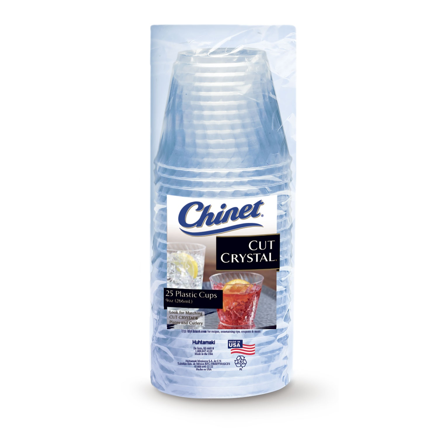(2 Pack) Chinet Cut Crystal Plastic Cups, 9 Oz, 25 Ct