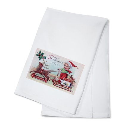 A Happy Christmas to You - Boy on a Sleigh (100% Cotton Kitchen Towel)