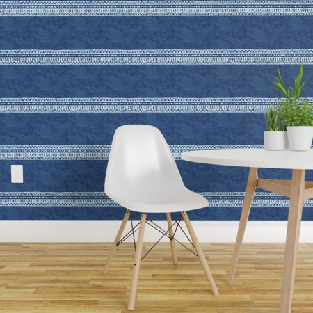 Removable Water Activated Wallpaper Mudcloth Inspired Tribal Stripe In