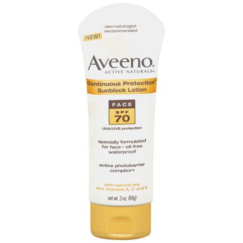 Aveeno Active Naturals Continuous Protection Face, SPF 70 Sunblock Lotion, 3 oz