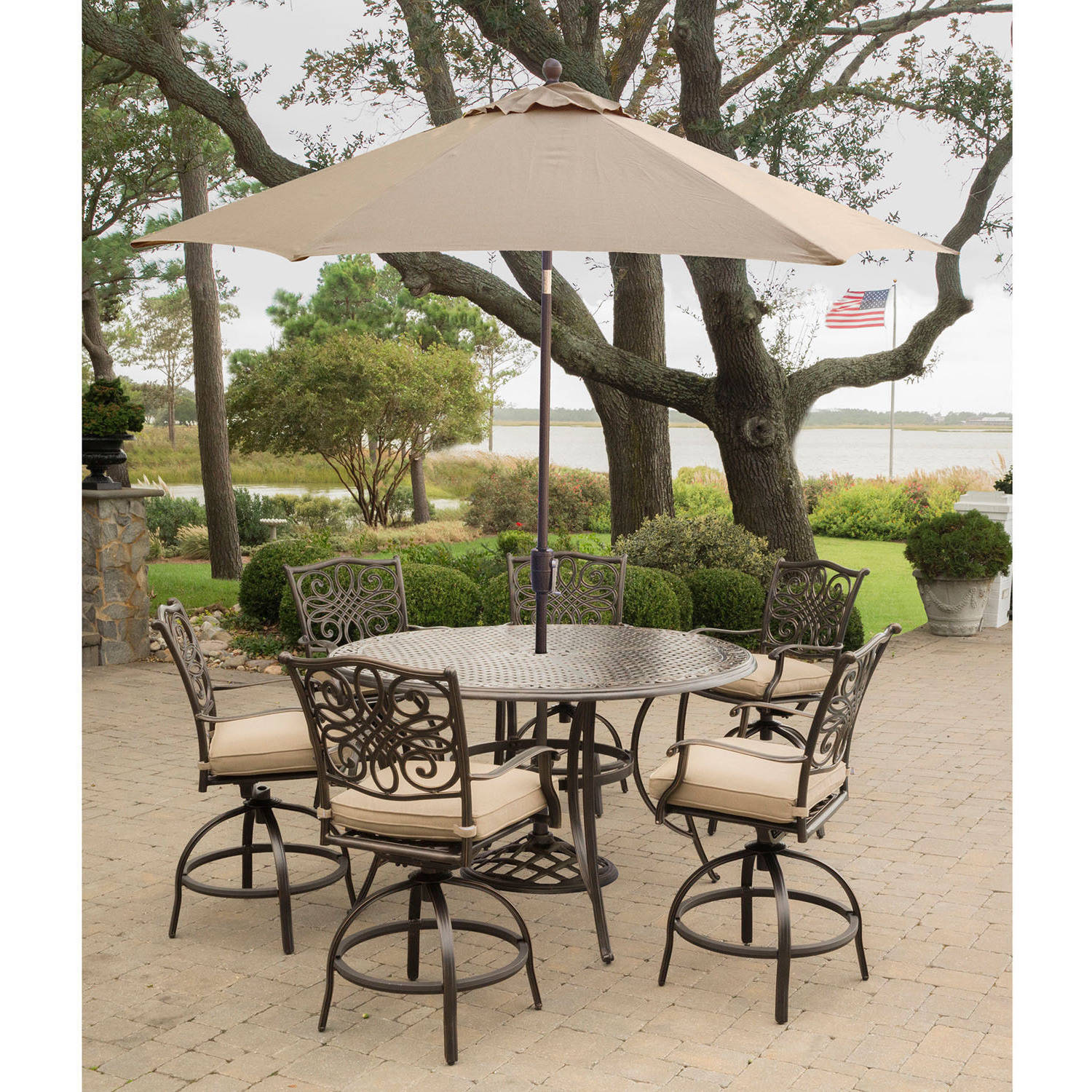 Hanover Outdoor Traditions 7-Piece Bar Set with Cast-Top Table and Umbrella w/Stand
