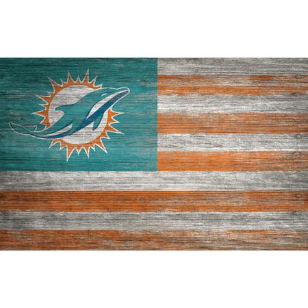Miami Dolphins 11'' x 19'' Distressed Flag Sign - No Size - Miami Dolphins Decor