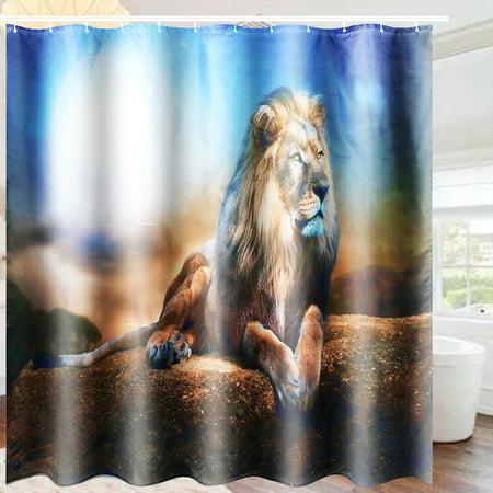 3Pcs Non-Slip Bathroom Toilet Seat Cover Bath Rugs Mat Pad Doormat + Shower Curtain Set Lion Home Decor Gift  - image 4 de 9
