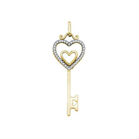 10kt Yellow Gold Womens Round Diamond Key Double Heart Pendant 1/10 Cttw