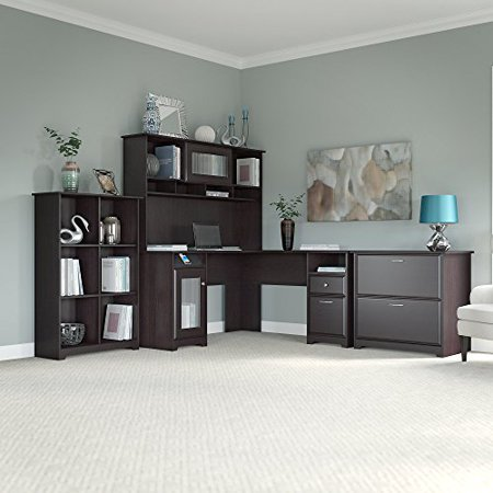 Cabot L Shaped Desk With Hutch 6 Cube Bookcase And