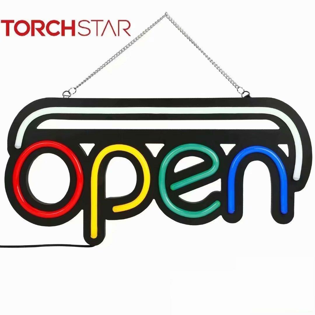 "TORCHSTAR 19.7"" x 9.8"" Rectangular Shape Animated LED Neon Light Open Sign for Business, 2000lm"