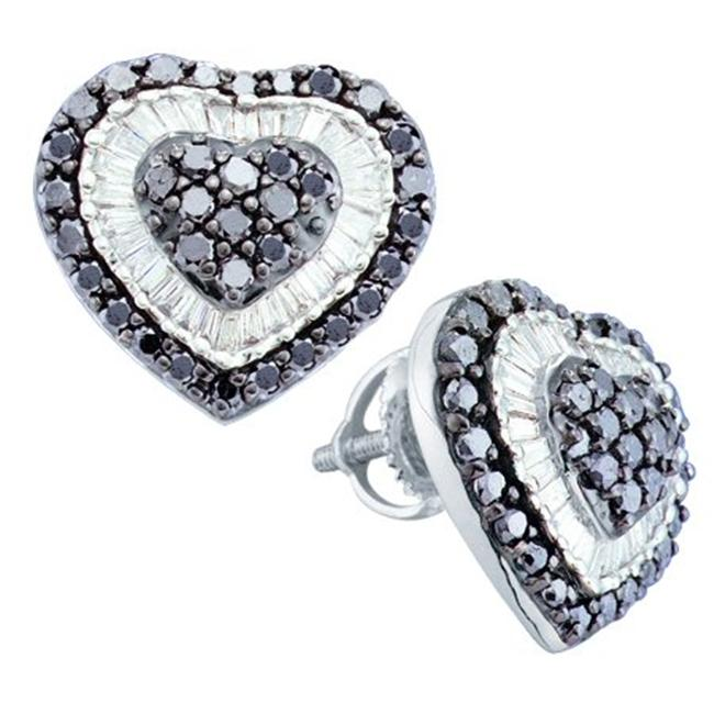 Gold and Diamonds FOERB2578BKA-W 1. 50CT-DIA HEART EARRINGS- Size 7