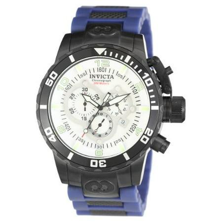 Invicta Mens Corduba Swiss Chronograph Black IP Stainless Steel Case Blue Polyurethane Watch