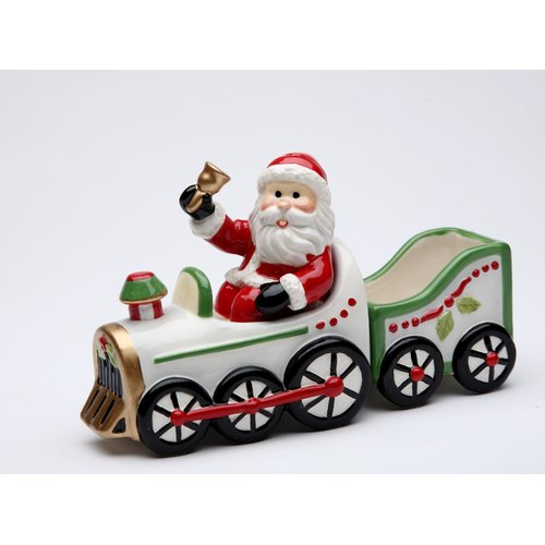 Cosmos Gifts Santa Driving on The Train Salt and Pepper Set with Sugar Pack Holder