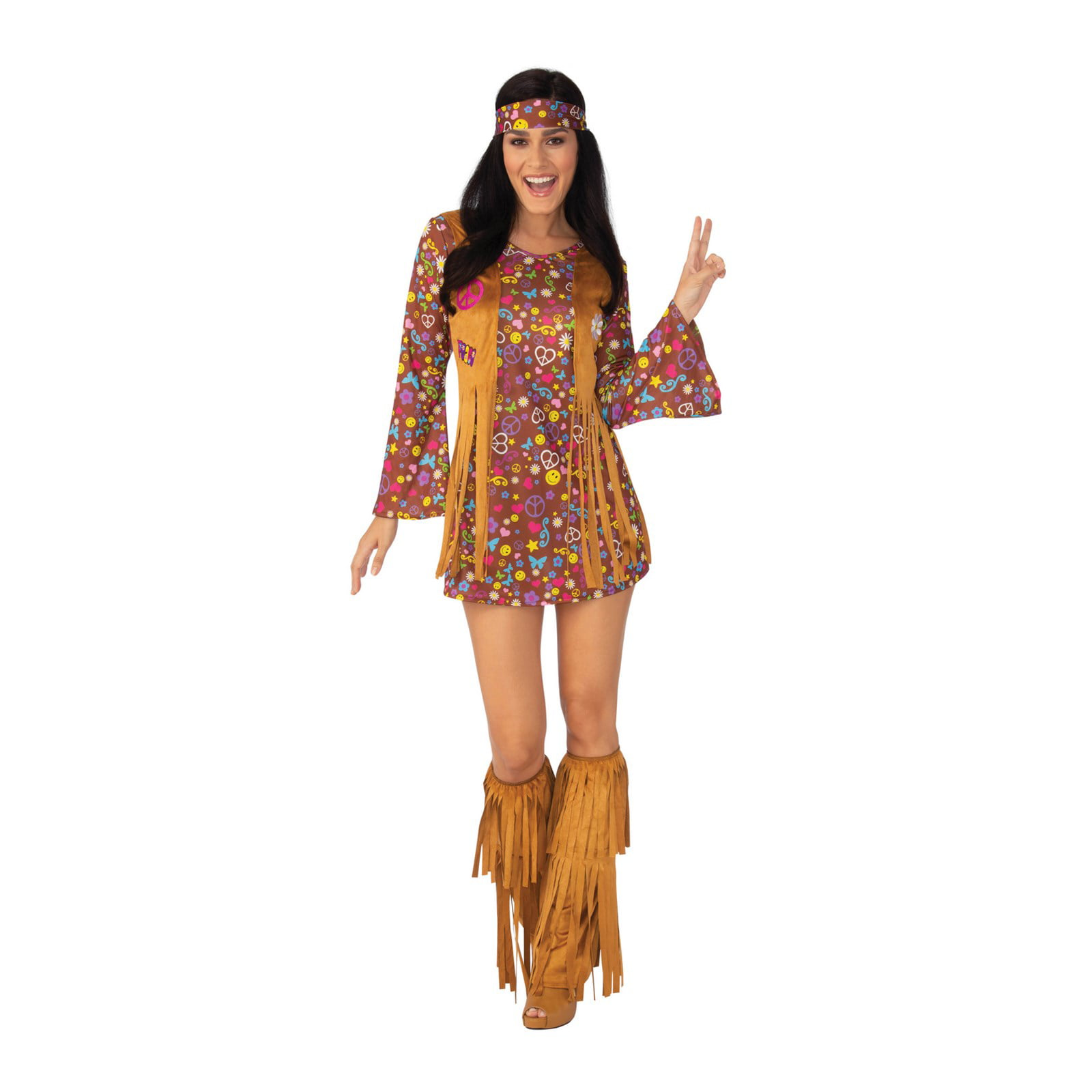 Brand New Peace and Love Hippie Dress Women Adult Costume