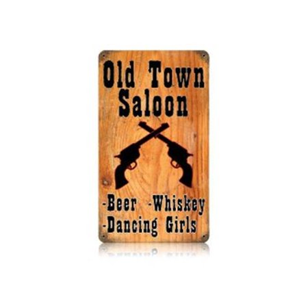 Past Time Signs V038 Old Town Saloon Food and Drink Vintage Metal Sign](Old West Saloon Decor)
