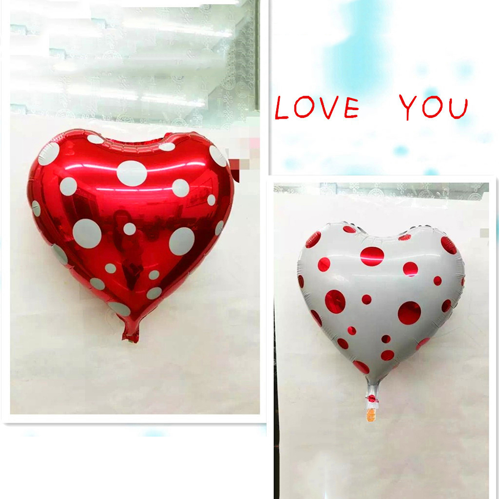Heepo Romantic Dots Heart Aluminum Balloon Wedding Birthday Party Valentine Decor