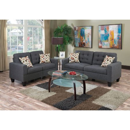 Bobkona Windsor Linen-Like Polyfabric 2-Piece Sofa and Loveseat Set
