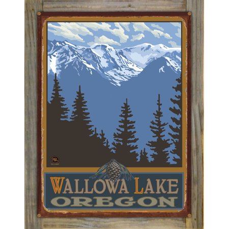 Wallowa Lake Oregon Snowy Mountain Ridges Rustic Metal Print on Reclaimed  Barn Wood by Paul A  Lanquist (18
