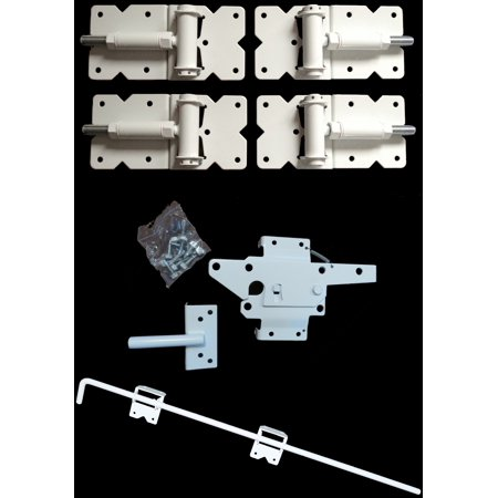 - Self Closing Vinyl Fence Gate Double Gate Hardware Kit WHITE (for Vinyl, PVC etc Fencing)  - Double Fence Gate Kit has 4 Hinges, 1 Latch, and 1 Drop Rod