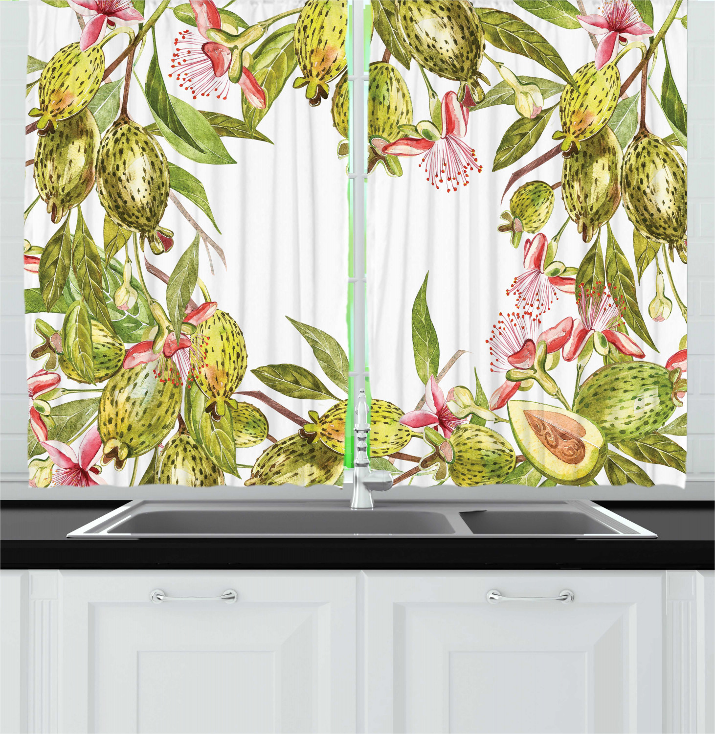 Floral Curtains 2 Panels Set Feijoa Tropical Fruit Plant With Exotic Leaves On Plain Background Window Drapes For Living Room Bedroom 55 W X 39 L Avocado Green Coral White By Ambesonne Walmart Com