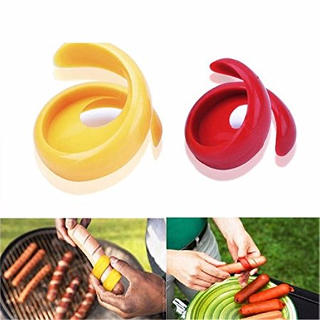 Jeobest 2PCS Sausage Cutter Slicer - Manual Sausage Cutter - Sausage Cutter Spiral - Hot Dogs Cutter - Manual Fancy Sausage Cutter Spiral Barbecue Hot Dogs Cutter Slicer kitchen Cutting Gadget MZ