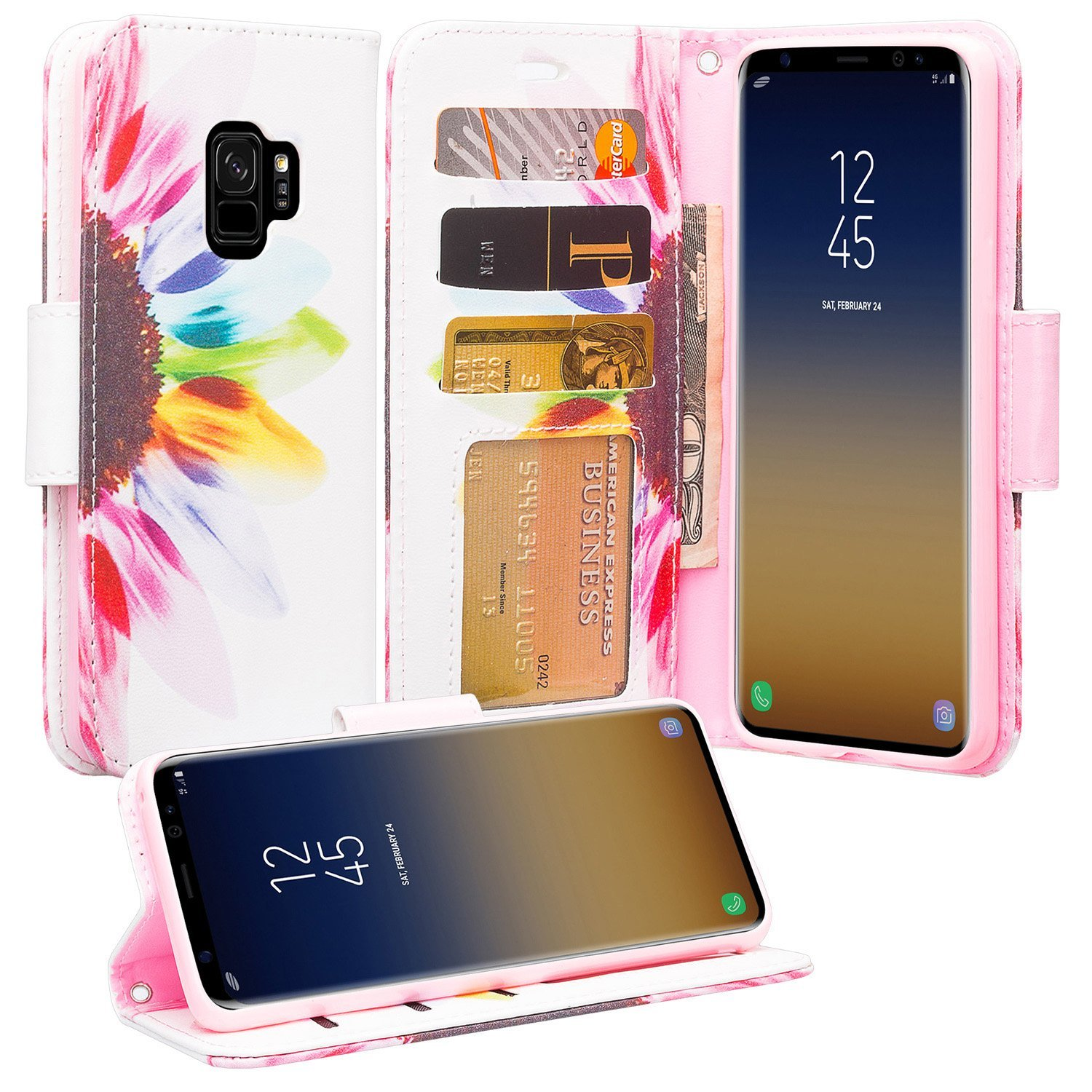 Galaxy S9 Case, Samsung Galaxy S9 Phone Cases, Flip Folio [Kickstand Feature] Pu Leather Wallet Case with ID & Credit Card Slot For Galaxy S9 - Sun Flower