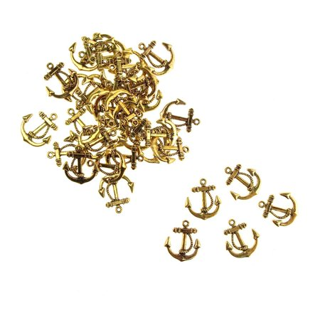 Pewter Metal Embellishments - Metal Nautical Anchor Charms, Gold, 3/4-Inch, 36-Count