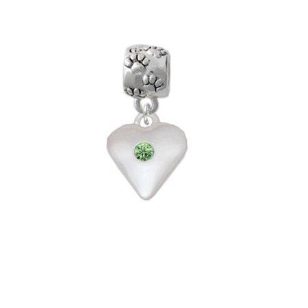 Large Lime Green Birthday Crystal Heart - Paw Print Charm Bead