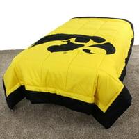 "Iowa Hawkeyes 2 Sided Reversible Comforter, 100% Cotton Sateen, 86"" x 96"", Queen"