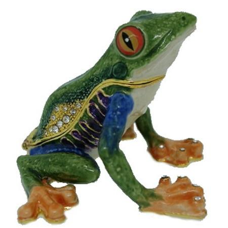 Green Tree Frog Bejeweled Enamel Jewelry Trinket Keepsake Box Container New