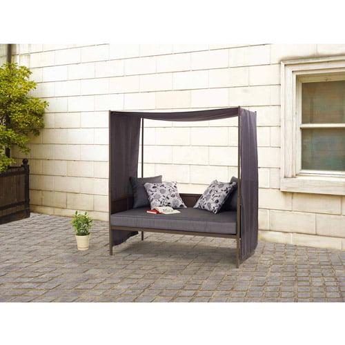 Mainstays Alexandra Square Steel Cushion Day Lounger, Gray, Seats 3