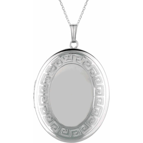 Sterling Silver Oval-Shaped with Greek Key Border Locket by Generic
