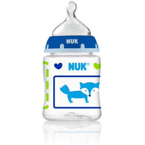 NUK Woodlands Baby Bottle with Perfect Fit Nipple, 5 oz, 3-pack, Medium Flow, Boy Design